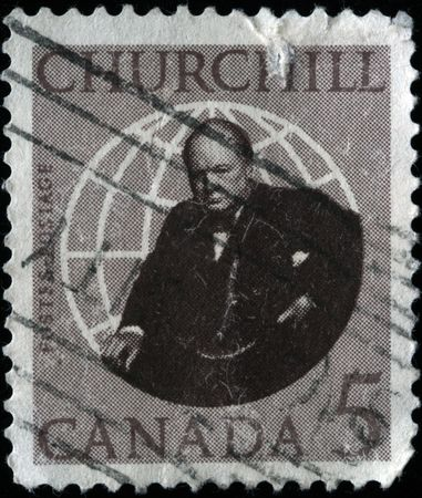 winston:  CANADA - CIRCA 1960s: A stamp printed in Canada shows image of former British Prime Minister Sir Winston Churchill, circa 1960s