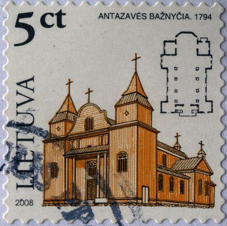 LITHUANIA - CIRCA 2008: A stamp printed in Lithuania shows chirch Antazaves Baznycia, circa 2008  photo