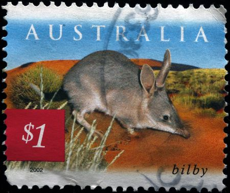 circa:  AUSTRALIA - CIRCA 2002: A stamp printed in Australia shows bilby, circa 2002