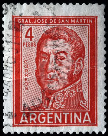 jose de san martin:  ARGENTINA - CIRCA 1965: A stamp printed in Argentina shows Jose de San Martin, circa 1965