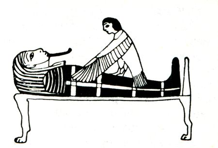 engraver: old engraver from Russian enciclopedy  shows The soul returns to the grave, the image on an Egyptian papyrus