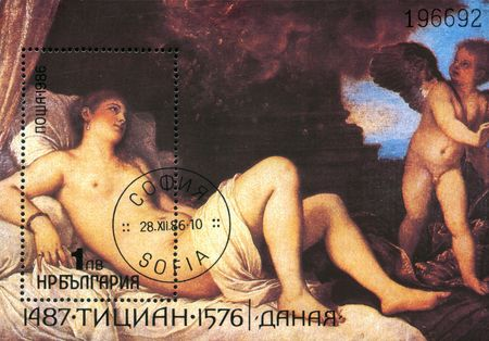 A stamp printed in Bulgaria shows draw by Titian - Danaya, circa 1986  Stock Photo