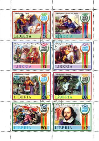 Stamps printed in Libia shows portrait of William Shakespeare and scenes of his palys, circa 1980s