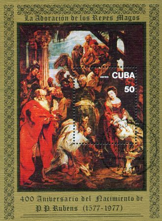 seventeenth: A stamp printed in Cuba shows painting by Peter Paul Rubens - Adoration of Magy, circa 1977