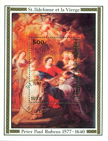seventeenth: A stamp printed in Republica Niger shows painting by Peter Paul Rubens -Vitgin and St Ildenfonse-, circa 1978