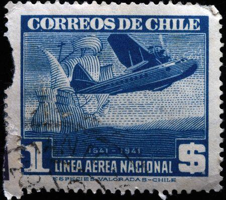 avia: CHILE - CIRCA 1941: A stamp printed in Chile shows airplane, circa 1941  Stock Photo