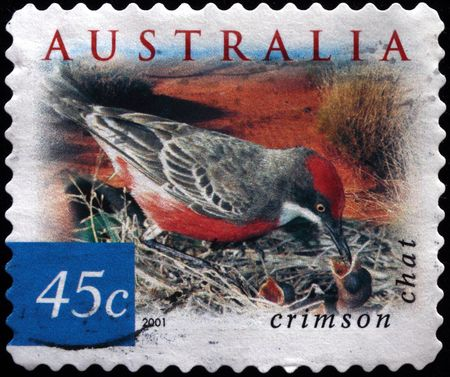 AUSTRALIA - CIRCA 2001: A stamp printed in Australia shows Crimson chat - Epthianura tricolor, circa 2001  Stock Photo - 7687415