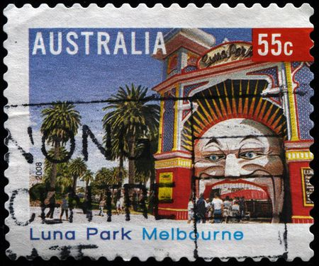 AUSTRALIA - CIRCA 2008: A stamp printed in Australia shows Luna Park in Melbourne, circa 2008  photo