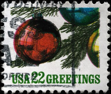 UNITED STATES OF AMERICA - CIRCA 1989: A greeting Christmas stamp printed in the USA shows balls on Christmas tree, circa 1989 Stock Photo - 7687432