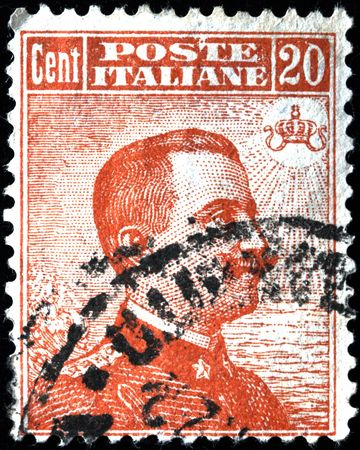ITALY - CIRCA 1910s: A stamp printed in Italy shows image of King Victor Emmanuel III of Italy, circa 1910s