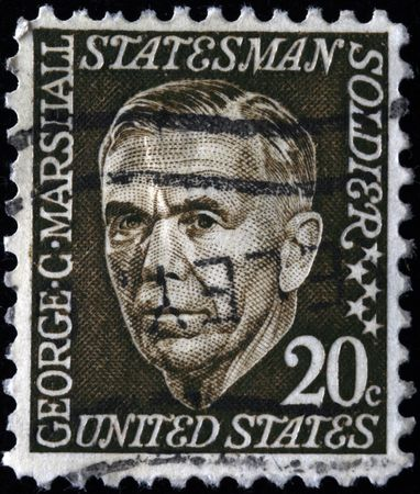 UNITED STATES OF AMERICA - CIRCA 1940: A stamp printed in the USA shows image of George Marshall, circa 1940 Stock Photo - 7687449