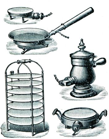 Electric kitchen appliances end of 19 century - an illustration of the encyclopedia publishers Education, St. Petersburg, Russian Empire, 1896 Stock Illustration - 7804189