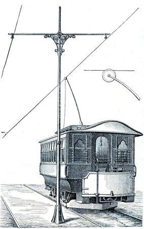 petersburg: electric tram system Schprage - an illustration of the encyclopedia publishers Education, St. Petersburg, Russian Empire, 1896