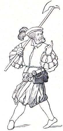 medieval suit of clothes, typical for France and England - an illustration of the encyclopedia publishers Education, St. Petersburg, Russian Empire, 1896 Stock Illustration - 7804192