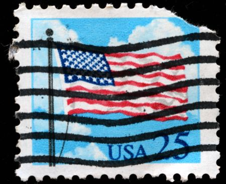 UNITED STATES OF AMERICA - CIRCA 1985: A stamp printed in the USA shows flag and clouds, circa 1985 Stock Photo - 7810823