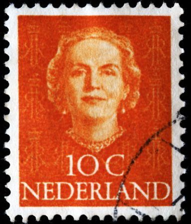 NETHERLANDS - CIRCA 1953: A stamp printed in the Netherlands shows image of Queen Juliana, series, circa 1953