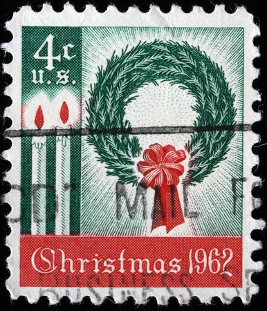 UNITED STATES OF AMERICA - CIRCA 1962: A greeting Christmas stamp printed in the USA, circa 1962 Stock Photo - 7810837
