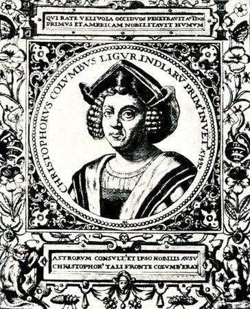 colonizer: Christopher Columbus portrait works of Hermano Costa, 1492 Stock Photo