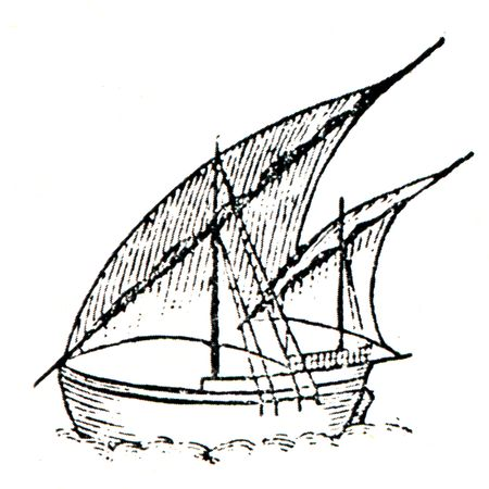 Nina - ship of the first expedition, Christopher Columbus, it is assumed that the holograph image Admiral Stock Photo - 7810839