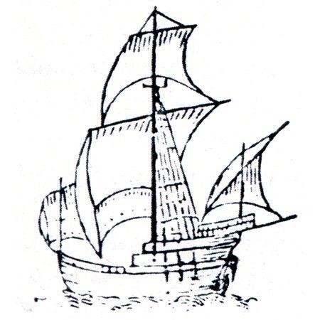Pinta - barco de la primera expedición, Christopher Columbus, se supone que la imagen autógrafa Almirante