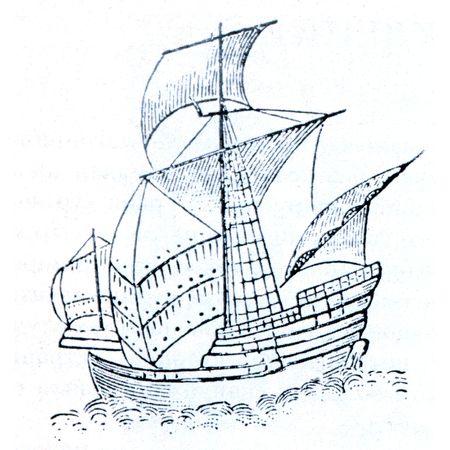 Santa Maria - statek z pierwszej wyprawy, Christopher Columbus, zakÅ'ada siÄ™, że holograph obraz admiraÅ'a Zdjęcie Seryjne - 7810853