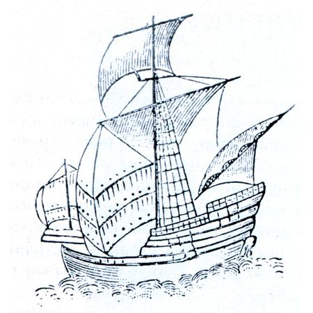 assumed: Santa Maria -  ship of the first expedition, Christopher Columbus, it is assumed that the holograph image Admiral Stock Photo