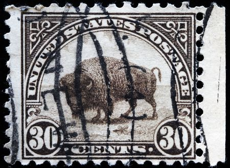UNITED STATES OF AMERICA - CIRCA 1930s: A stamp printed in the United States of America shows bison, circa 1930s  Stock Photo - 7810859