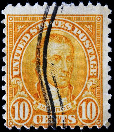 monroe:  UNITED STATES OF AMERICA - CIRCA 1932: A stamp printed in the USA shows image of President James Monroe, circa 1932  Editorial