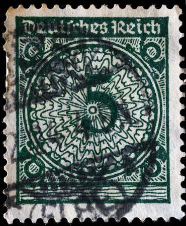 GERMANY - CIRCA 1924: A stamp printed in Germany shows 5 marks, circa 1924  photo