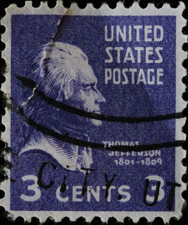 USA - CIRCA 1930: A stamp printed in USA shows Portrait President Thomas Jefferson, circa 1930.  Stock Photo - 7810874