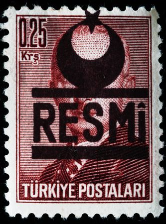 TURKEY - CIRCA 1940S: A stamp printed in Turkey shows Prime minister Mustafa Ismet Inonu, circa 1940s  Stock Photo - 7810878