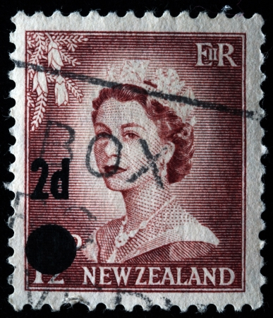NEW ZEALAND - CIRCA 1950s: A stamp printed in New Zealand shows Queen Elizabeth II, circa 1950s