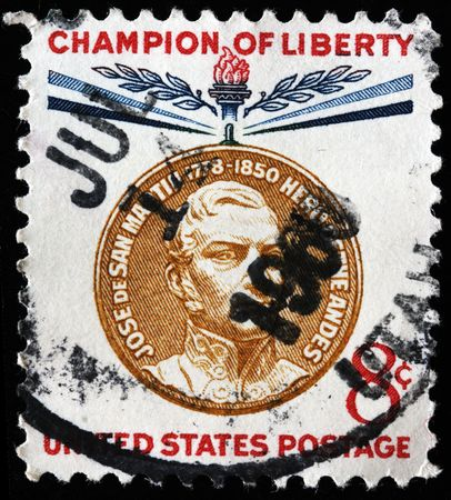 UNITED STATES OF AMERICA - CIRCA 1966: A stamp printed in the USA shows image of Jose de San Martin, circa 1966 Stock Photo - 7810888