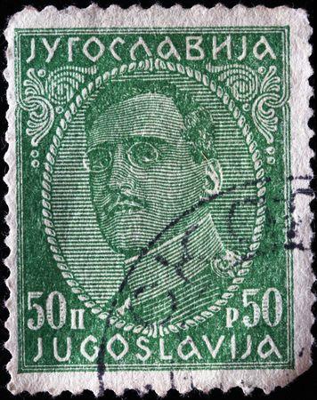 yugoslavia:  YUGOSLAVIA - CIRCA 1924: A stamp printed in Yugoslavia shows king Alexander I of Yugoslavia, circa 1924