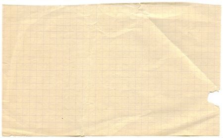 Old yellowed graph paper background isolated om white photo