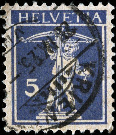 eros: SWITZERLAND - CIRCA 1925: A stamp printed in Switzerland  shows Eros, circa 1925 Stock Photo