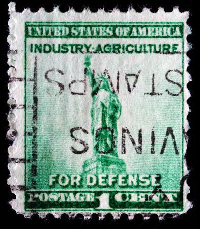US - CIRCA 1940: A stamp printed in US shows image of Statue of Liberty ,series, circa 1940  photo