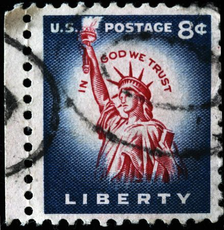 US - CIRCA 1954:A stamp printed in US shows image of Statue of Liberty ,series, circa 1954  photo