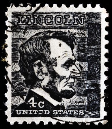 UNITED STATES OF AMERICA - CIRCA 1966: A stamp printed in the USA shows image of President Abraham Lincoln, circa 1966