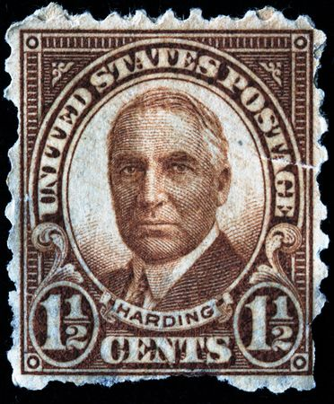 warren: UNITED STATES OF AMERICA - CIRCA 1920s: A stamp printed in the USA shows image of President Warren Gamaliel Harding, circa 1920s