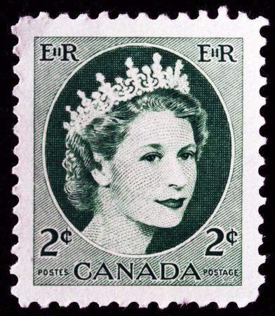 CANADA - CIRCA 1954: A stamp printed in Canada shows Queen Elizabeth II, circa 1954