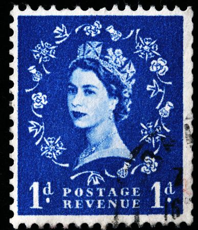 UNITED KINGDOM - CIRCA 1970: An English Used First Class Postage Stamp showing Portrait of Queen Elizabeth II in blue, circa 1970 Stock Photo - 8240202