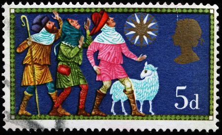 United Kingdom - CIRCA 1969: A stamp printed in United Kingdom shows adoration of magy, circa 1969 photo