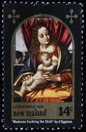 NEW ZEALAND - CIRCA 1981: Christmas post stamp printed in New Zealand shows  Stock Photo - 8240220