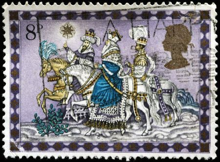 UNITED KINGDOM - CIRCA 1979: A British Used Christmas Postage Stamp showing The Three Kings, circa 1979 Stock Photo - 8240242