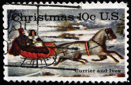 horse sleigh: UNITED STATES - CIRCA 1974: stamp printed by United states, shows  Stock Photo