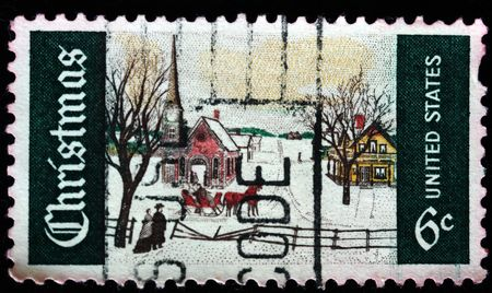 UNITED STATES OF AMERICA - CIRCA 1984: A greeting Christmas stamp printed in the USA shows winter landscape, circa 1984 Stock Photo - 8240244