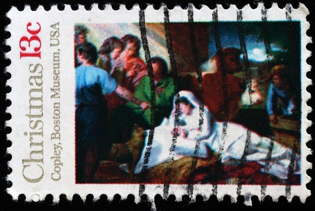 UNITED STATES OF AMERICA - CIRCA 1976: Christmass stamp printed in the USA shows draw  photo