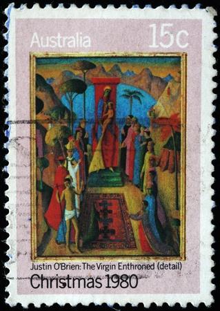 AUSTRALIA - CIRCA 1980: A stamp printed in Australia shows detail of draw Stock Photo - 8240290