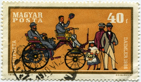 daimler: HUNGARY - CIRCA 1970: A stamp printed in Hungary shows vintage car Daimler - 1896 year, circa 1970  Stock Photo